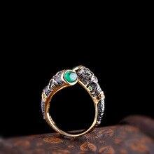 Гарантированное кольцо из стерлингового серебра 925 пробы, винтажная Эмалировка для женщин с натуральным халцедоном, ювелирные изделия