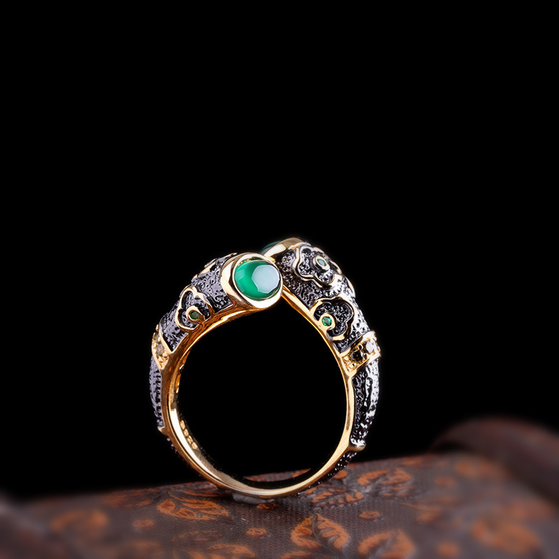 Guaranteed Silver Sterling 925 Ring Vintage Enameling For Women With Natural Chalcedony Stone Opening Type Fine Jewellery