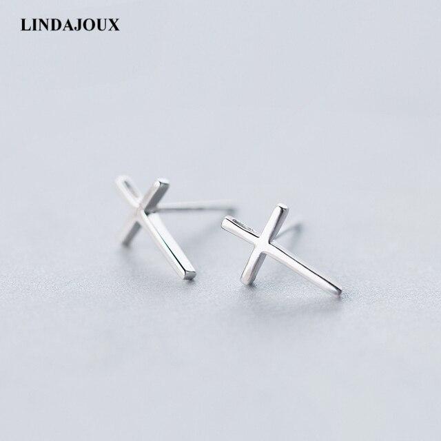 9625a5414 Sterling Silver Stud Earrings For Women Cute Polished Cross Shape 925  sterling-silver-jewelry Small Studs Earring