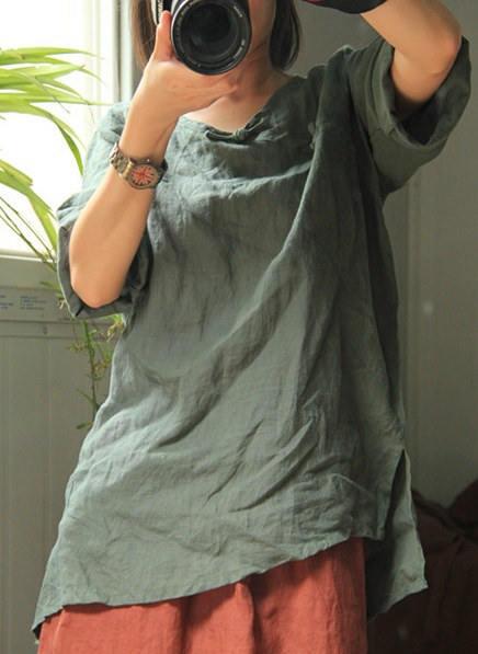 New product launches in the fall of 2015, the original design loose big yards 100% cotton linen shirt in women