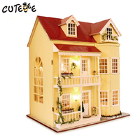 Home Decoration Accessories DIY Wooden House Miniatura Craft with Furniture Home Decor Miniature Garden Stickers Ribbon Gift A10