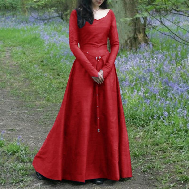 Vintage mediaeval Gothic Women Long Maxi Dress Ladies Retro V-neck big Circle Hem Party Dress Femme Robe Kaftan Plus size 5XL