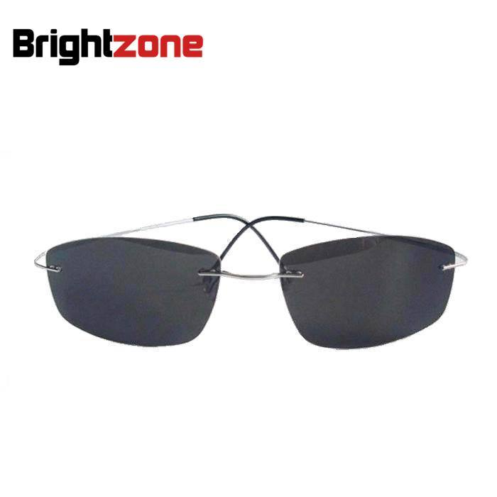 Excellent Super Light Flexible 100 Titanium Rimless Polarized Sunglasses Eyeglasses Eyewear Unisex Gray Green Brown UVA