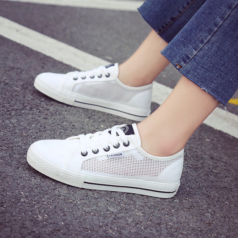 2018 Summer Sneakers Women Fashion Breathable Canvas+Mesh Women Casual Shoes Lace-Up Casual Women Shoes