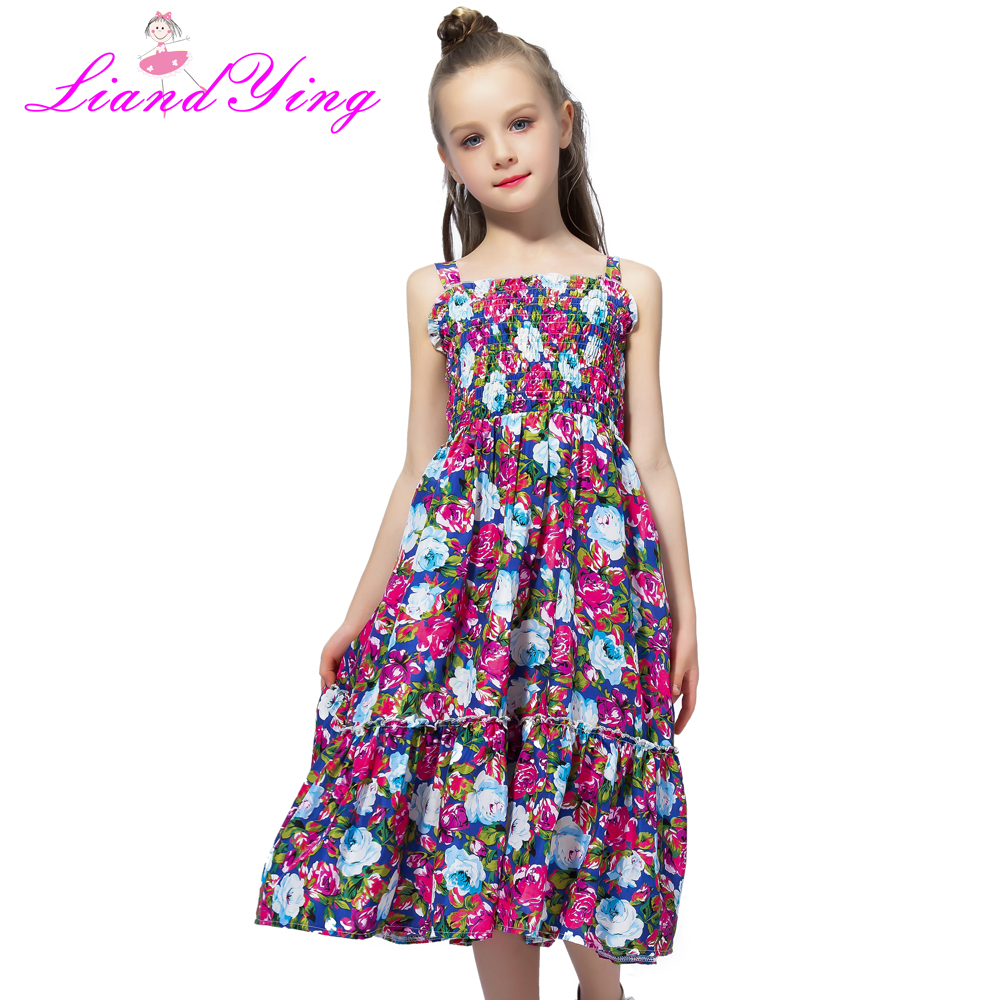 2018 Girls Dresses Summer Cute Baby Girls Floral Long Dress Children Clothes Casual Chiffon Beachwear Maxi Dress Fit 2-12Y стоимость