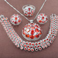 Shining Red Stone  Zirconia  925 Sterling Silver Jewelry Sets Necklace Pendant Earrings Rings Bracelet Free Shipping JQ024