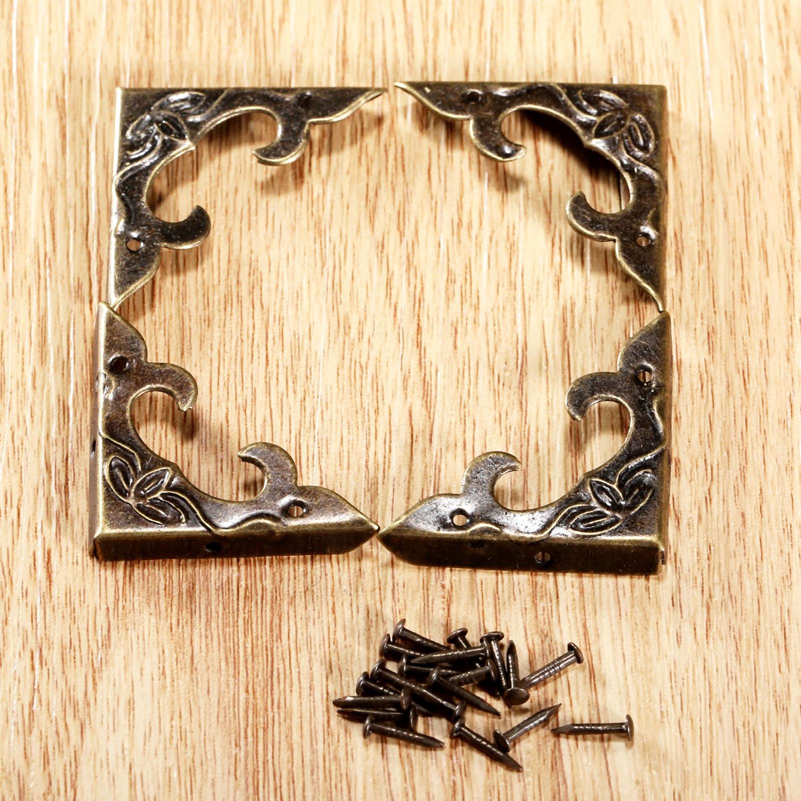 DRELD 4Pcs Antique Furniture Corner Brackets Jewelry Gift Box Wood ...