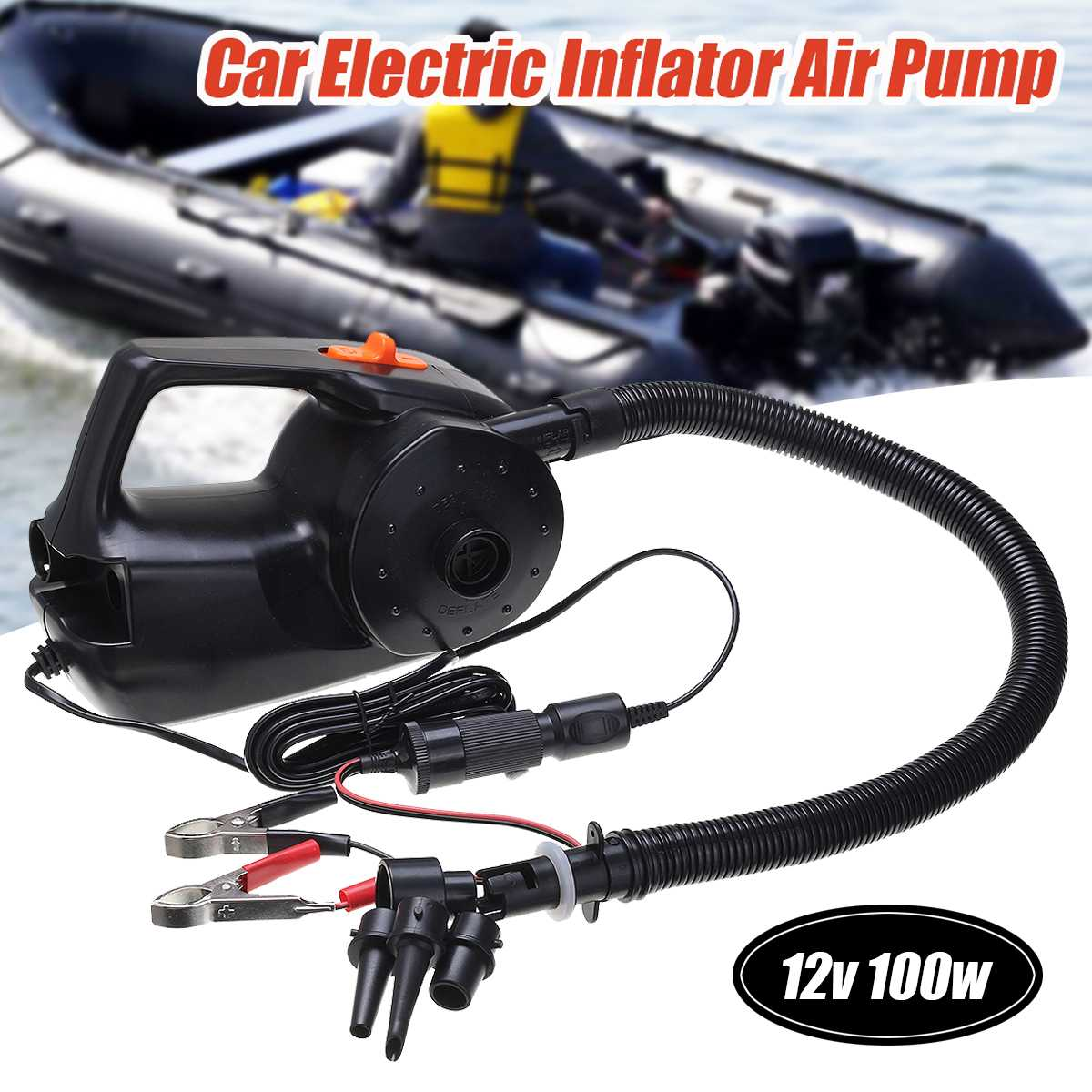 12V 100W Car Rechargable Pump Electric Inflatable Air Pump For Kayak Boat Swimming Pool Air Cushions Ball Auto Portable Blower