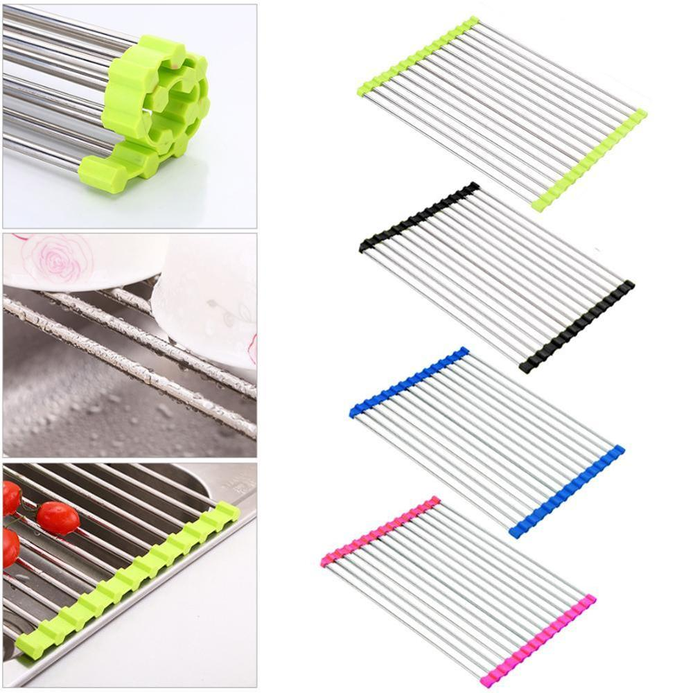 Drainer:  Kitchen Roll Up Dish Drying Rack Foldable Stainless Steel Over Sink Fruit Vegetable Drainer Bowl Storage Holder Rack Organizer - Martin's & Co