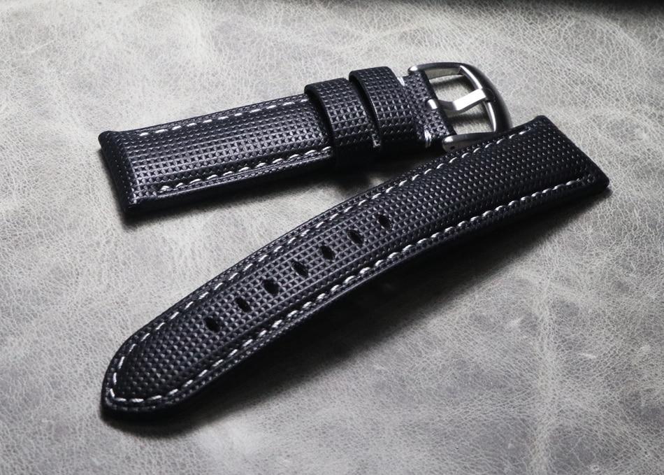 20 21 22 24 26mm grosso de alta qualidade Relógio De Couro Genuíno Correias Handmade Faixas de Relógio de Pulseira Preta para Hamilton mido Panerai