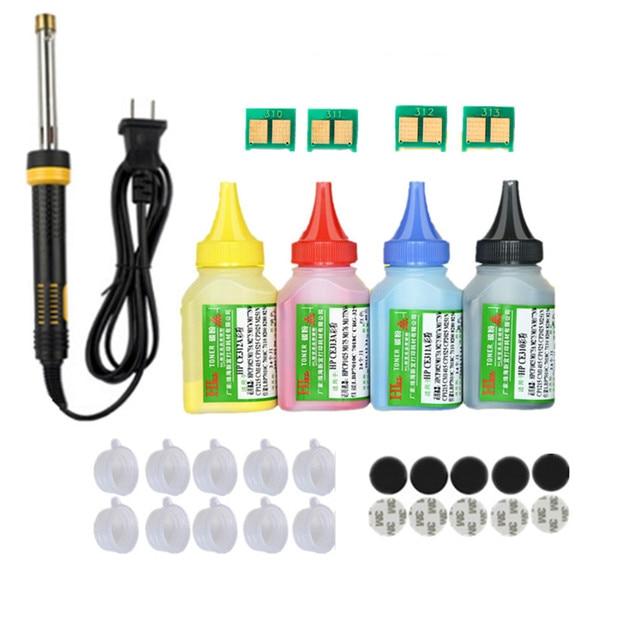 Refill toner Powder cartridge tool kit + 4 chip for HP CB540A   CB543A 125A  LaserJet CP1215 CP1515n CP1518ni CM1312 Printer