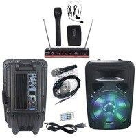 STARAUDIO 3500W 15 PA DJ Powered Active FM KTV BT USB Speaker With Light 2CH Wireless
