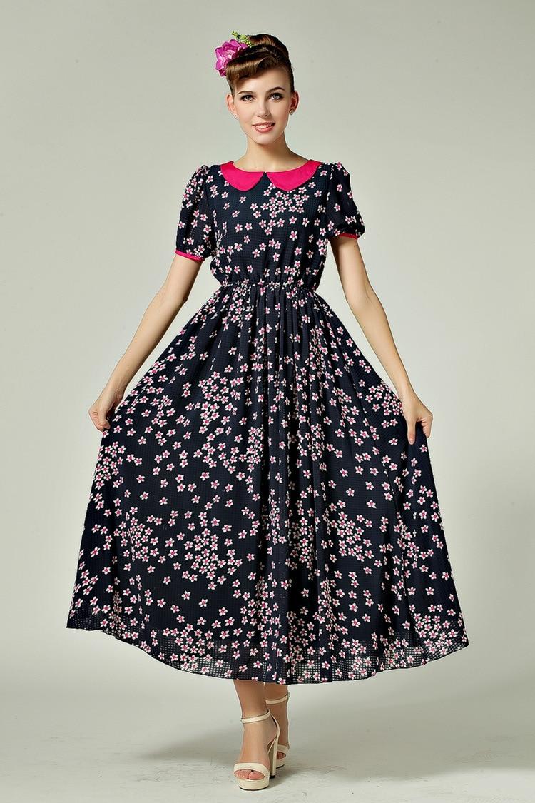 Ladies Long Maxi Dresses Plus Size Long Chiffon Vintage Dress ...