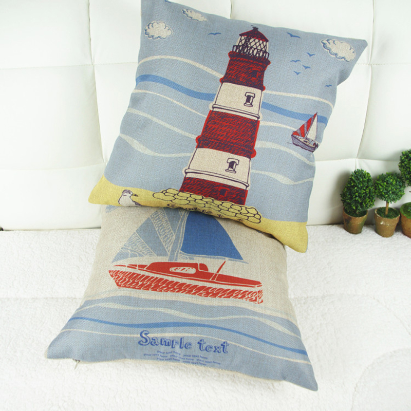Fashion Mediterranean Lighthouse Sailing Boat Linen Cotton Cushion Cover Decorative Sofa Car Pillow Cushion Case divano cuscini