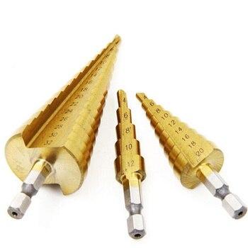 цена на Drill Bit Step Drill Nail Cutter 4-12/20mm HSS Steel Cone Drill Bit Set HSS Steel Step Sharpening Mini Sharpening Drill Chuck