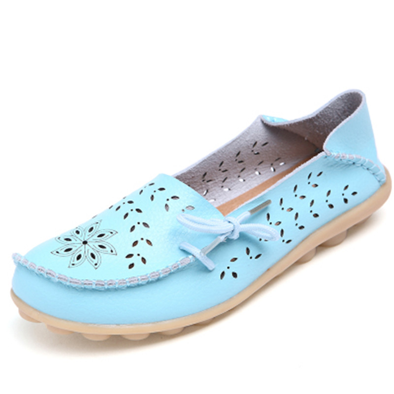2018 Women's Flats Genuine Leather Shoes Woman Loafers Slip-On Female Women Flats Moccasins Ladies Driving Shoe Mother Footwear