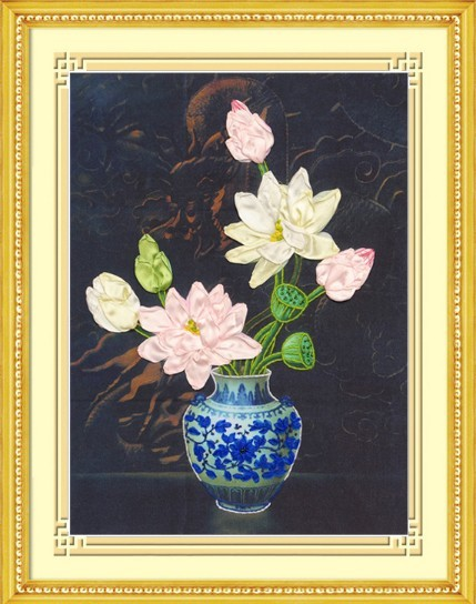 3d Lotus Flowers Bottle Ribbon Embroidery Painting Sets Handcraft