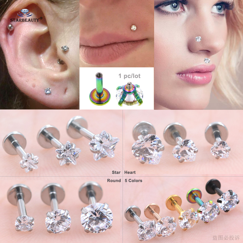 1pc 16g Clear Star Heart Round Gem Nose Piercing Nariz 6mm Labret