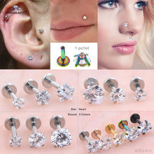 1pc 16G Clear Star Heart Round Gem Nose Piercing Nariz 6mm Labret Lip Ring Earring Helix Piercing Nose Ring Tragus Pircing(China)