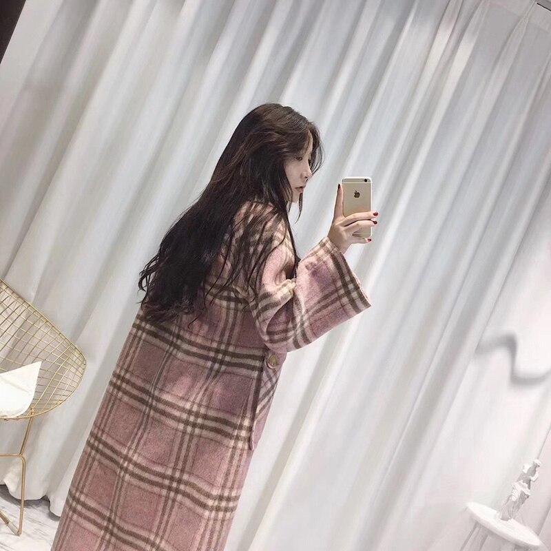 Femmes Nouvelle De Plaid Femelle Veste Rose Coréenne Vêtements Mode Manteau D'hiver 2018 Laine Long Automne Manteaux Pink 5FnUSxWB