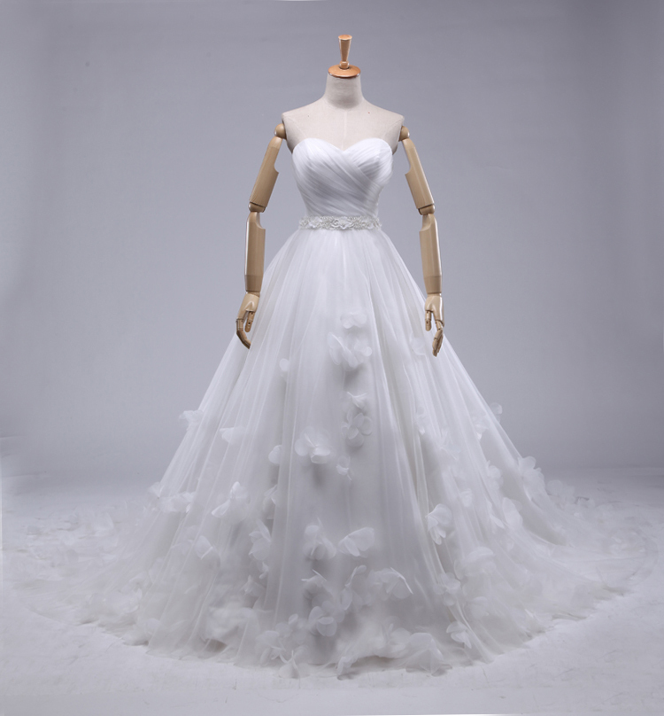 Buy charming a line pleats tulle wedding for A line skirt wedding dress