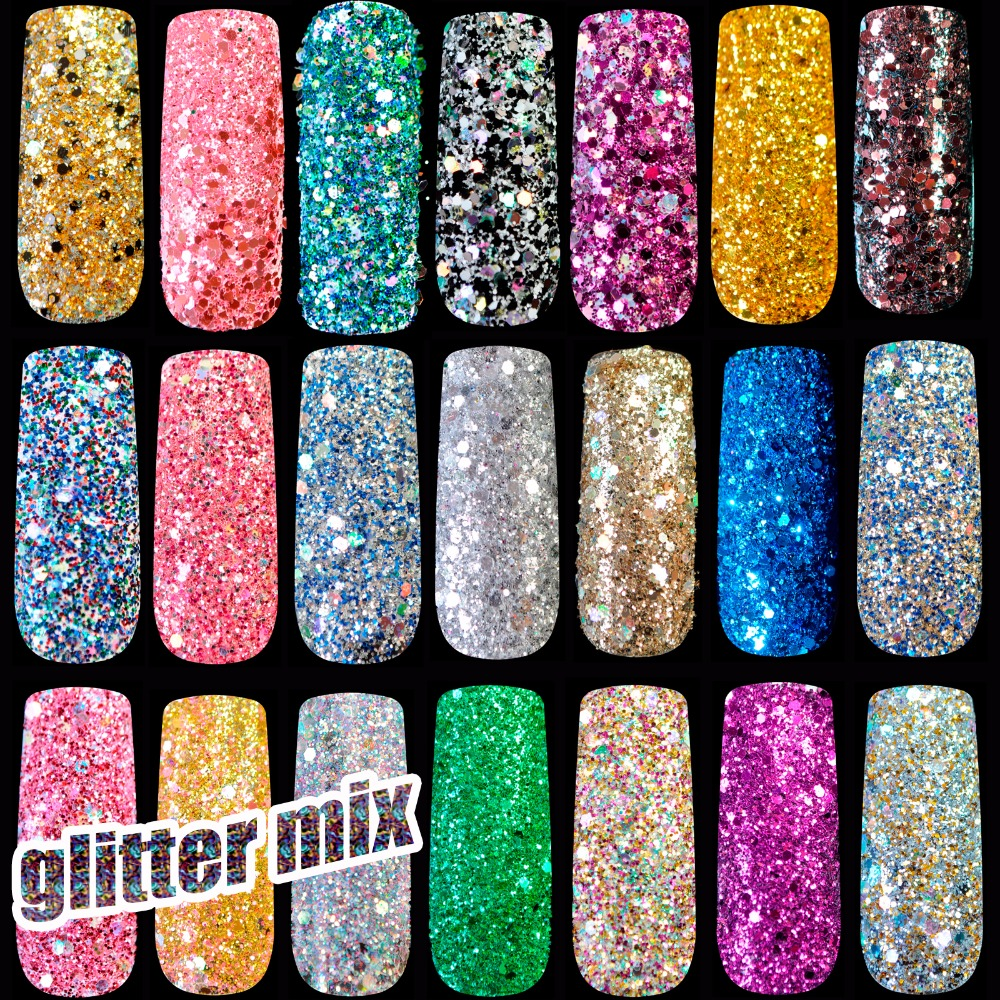 1 lot= 36pcs Pure and Holographic Nail art Glitter Powder DIY nail art glitter Sequins Gold Silver White Purple Glitter Mix Size