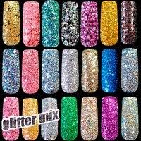 1 lot= 36pcs Pure and Holographic Nail art Glitter Powder DIY nail art glitter Sequins Gold Silver White Purple Glitter Mix Size