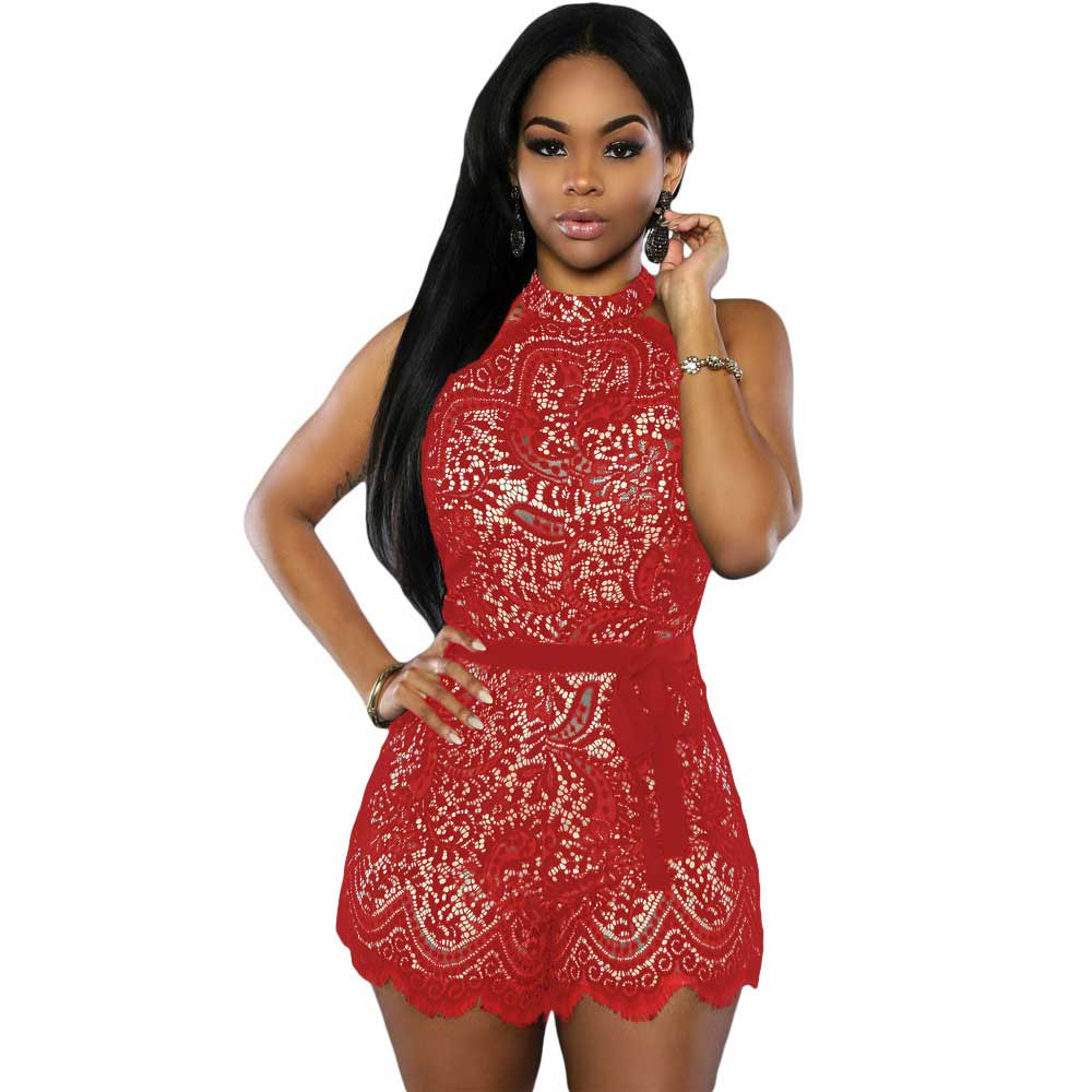 Barboteuse Femme 2016 Women Jumpsuits And Rompers Lace Nude Illusion Stylish Summer Romper Shorts