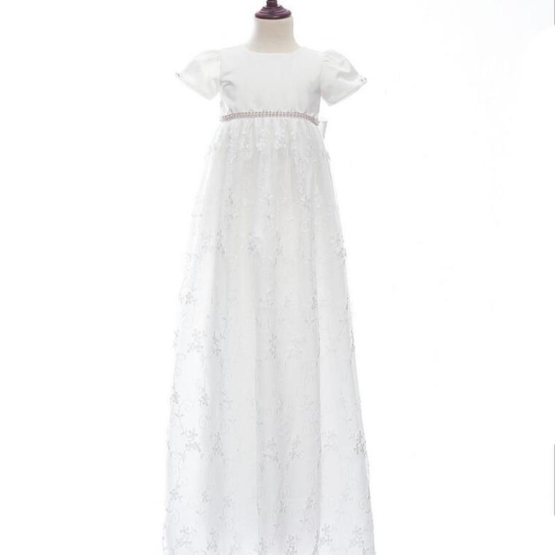 b19420ca10183 Baby Girls Christening Gowns Newborn Baptism Long Trailing Dress ...