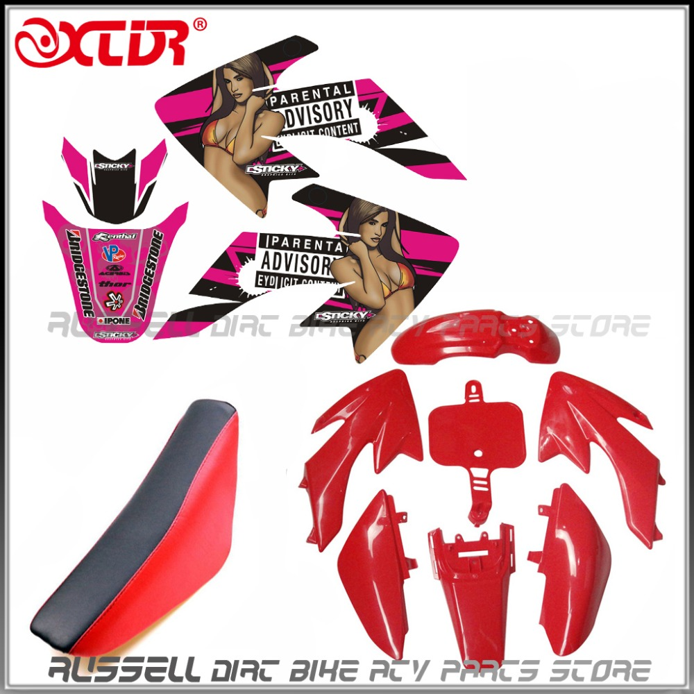 Plastics Fender Sexy Pink Stickers Foam Seat Kit For Honda Crf50 Dirt Bike 110cc 125cc Pit In Full Fairing Kits From Automobiles Motorcycles On