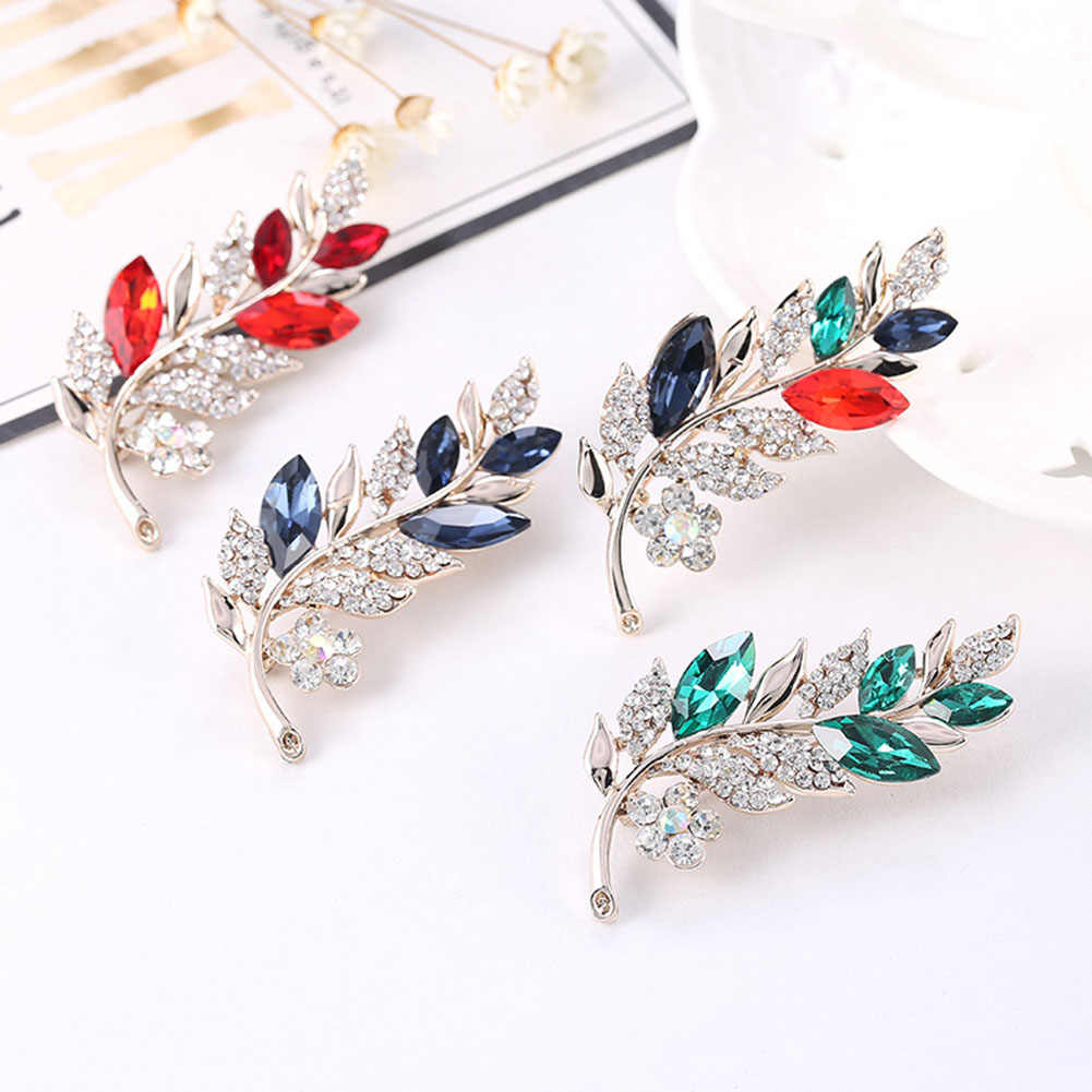 1PCS  Leaf Brooch Pin Silver Color Wedding Jewelry Women Large Rhinestone Crystal Fashion Feather Brooch And Pins Gifts