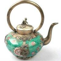 house decoration crafts Tibetan Silver Wonderful porcelain silver tea pot carved dragon tools wedding Brass
