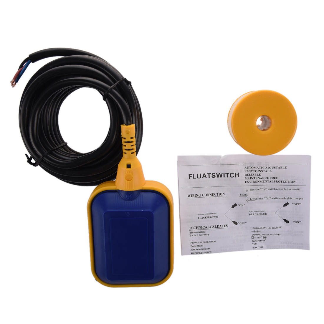 New Float Switch Liquid Fluid Water Level Controller Sensor 4M 13.1ft THK2 mj uqk 6 mini submersible pump with float switch small flow high chemical resistance oil tank level switch liquid level sensor