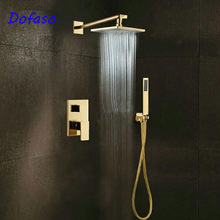 Dofaso wall Mounted Gold shower celling all copper shower set Rainfall Waterfall Shower Faucets with Hot and Cold Mixing Valve dofaso thermostatic shower faucets space aluminum and copper pressure wall golden shower set