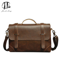 Briefcase Vintage Men Business Handbag Men's Shoulder Bags Crazy Horse PU Leather Crossbody Laptop Bag Black Male Mochila