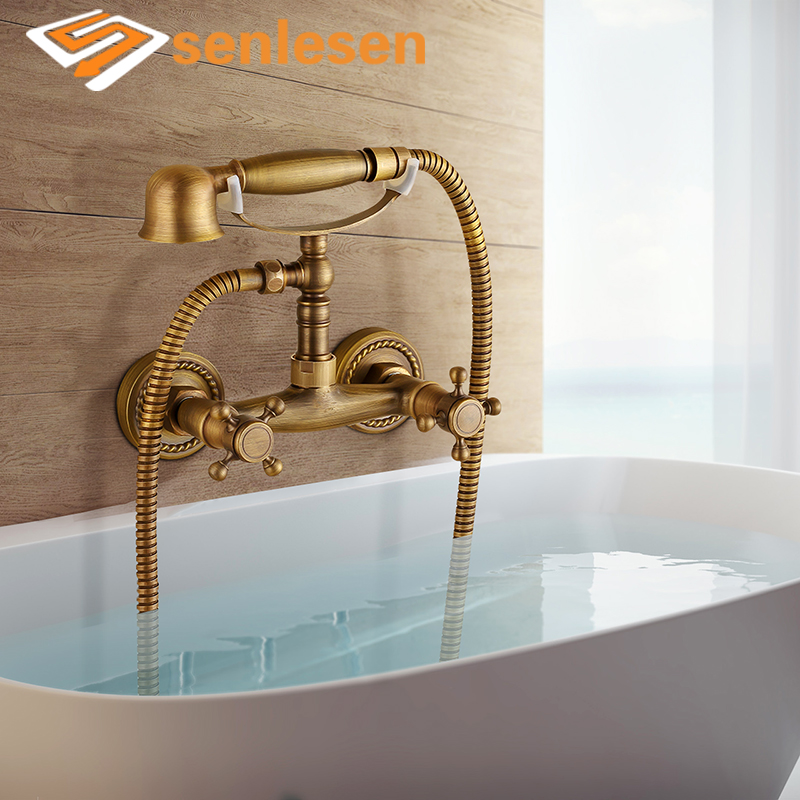 Senlesen Bathtub Faucet Dual Handle Wall Mount Ceramic Valve Hot and Cold Water Antique Brass Mixer Tap Para Bath Shower Faucets все цены