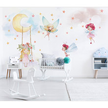 Children's Room Wall Paper Stickers Cute Cartoon Elf Photo Wallpaper Mural Girls Room Bedroom Self Adhesive Vinyl/Silk Wallpaper(China)