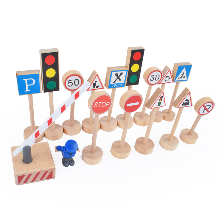 16PCS Colorful Wooden Street Traffic Signs Parking Scene Kids Children Educational Toy Set For Kids Birthday Gift Thomas Train