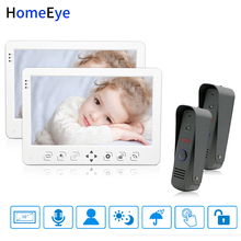 HomeEye 10 inch Video Door Phone Video Intercom Doorbell 2-2 Home Access System Voice Message Rainproof Video Record Unlock Door yobangsecurity home video intercom 7 inch hd visual door doorbell rfid 6 unit apartment access control system video door phone
