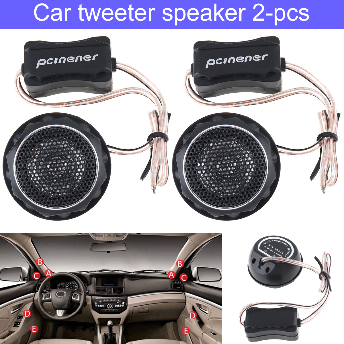 2pcs 12V 140W Car Speaker High Efficiency Mini Dome Tweeter Speakers Loundspeaker Lound speaker for Car Audio System YH-T280