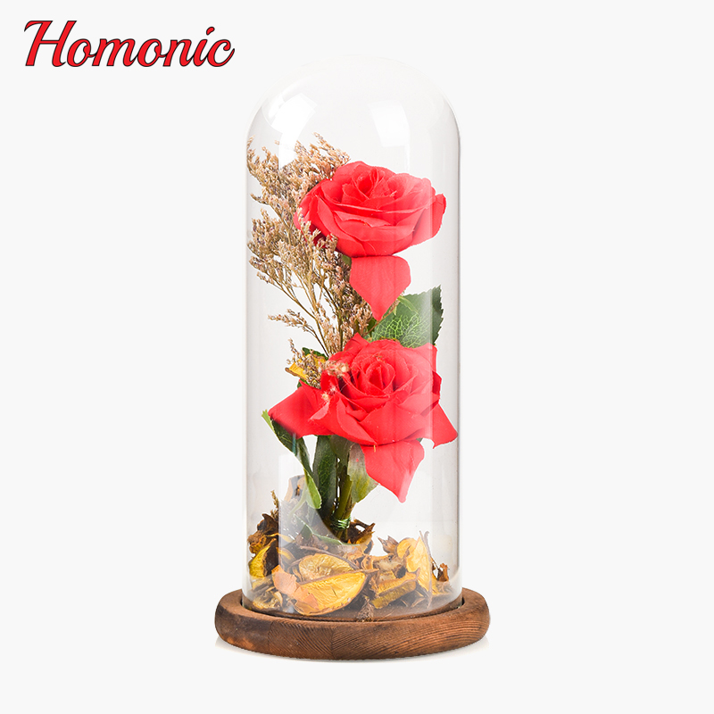 The Glass Cover Fresh Preserved Rose,Roses Eternal Dried Natural Flowers,2 heads Eternal Rose for Valentine's Day Christmas Gift