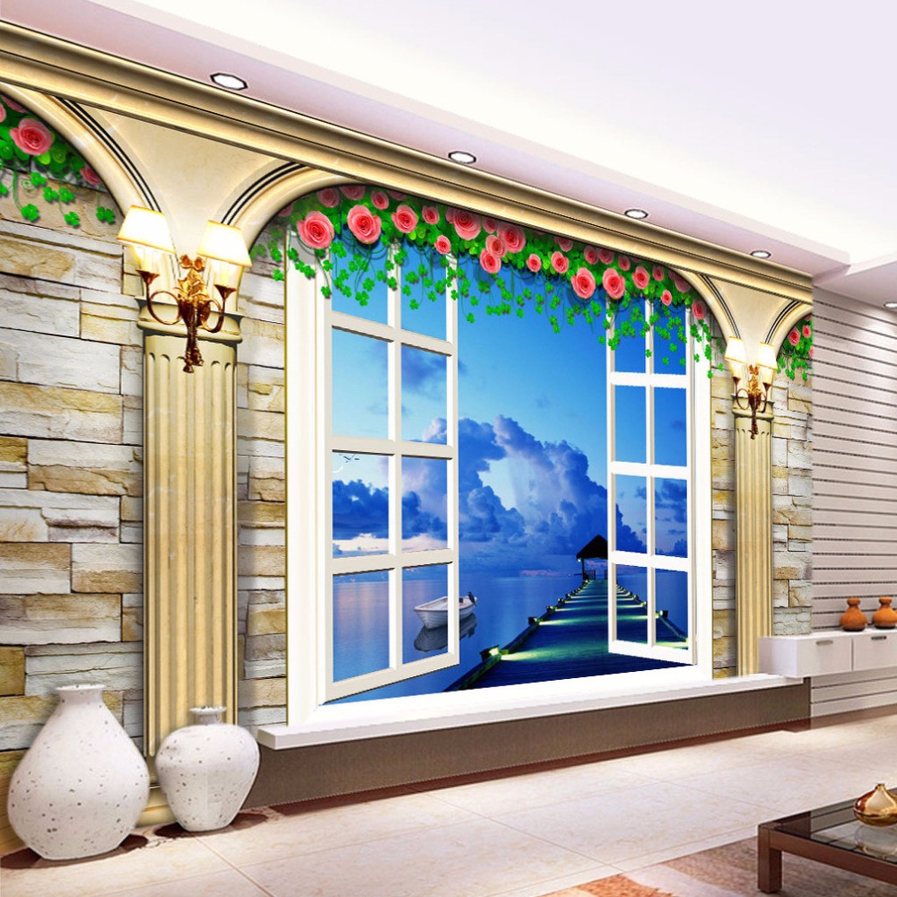 Custom Wall Mural Wallpaper Home Decor European Style Roman Column Living Room TV Background 3D Photo Wallpaper Flower Murals  free shipping 3d stereo angel rome column fantasy wallpaper mural custom dining room children room background wallpaper