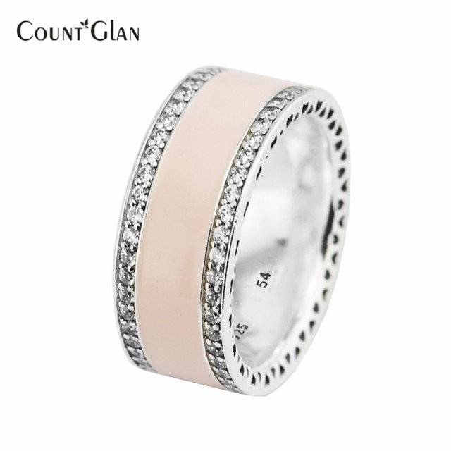 100% 925 Sterling-Silver-Jewelry Spring Collection 2017 Silver Rings for Women Pink Signature Hearts Silver Ring