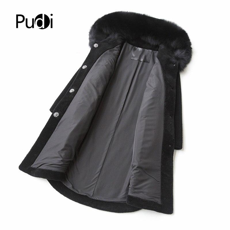 Capuche navy D'hiver Chaud Black Longue Pudi Blue Fourrure Manteau De A17001 Femmes Veste Véritable Renard Hiver Laine Femme Col jasper C77qAUvw