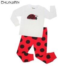 Детские пижамные комплекты из 100 хлопка с божьей коровкой детские пижамы для детей от 1 до 8 лет, детская одежда для сна pijamas Infantil Pyjama Fille