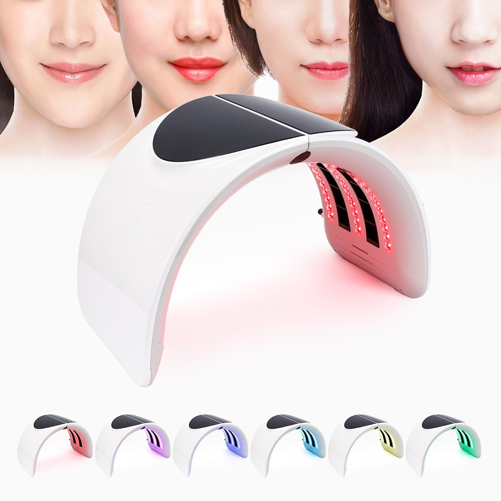Foreverlily Foldable Photon PDT Led Light Facial Mask Machine 7 Colors Face Whitening Skin Rejuvenation Light Therapy Device New