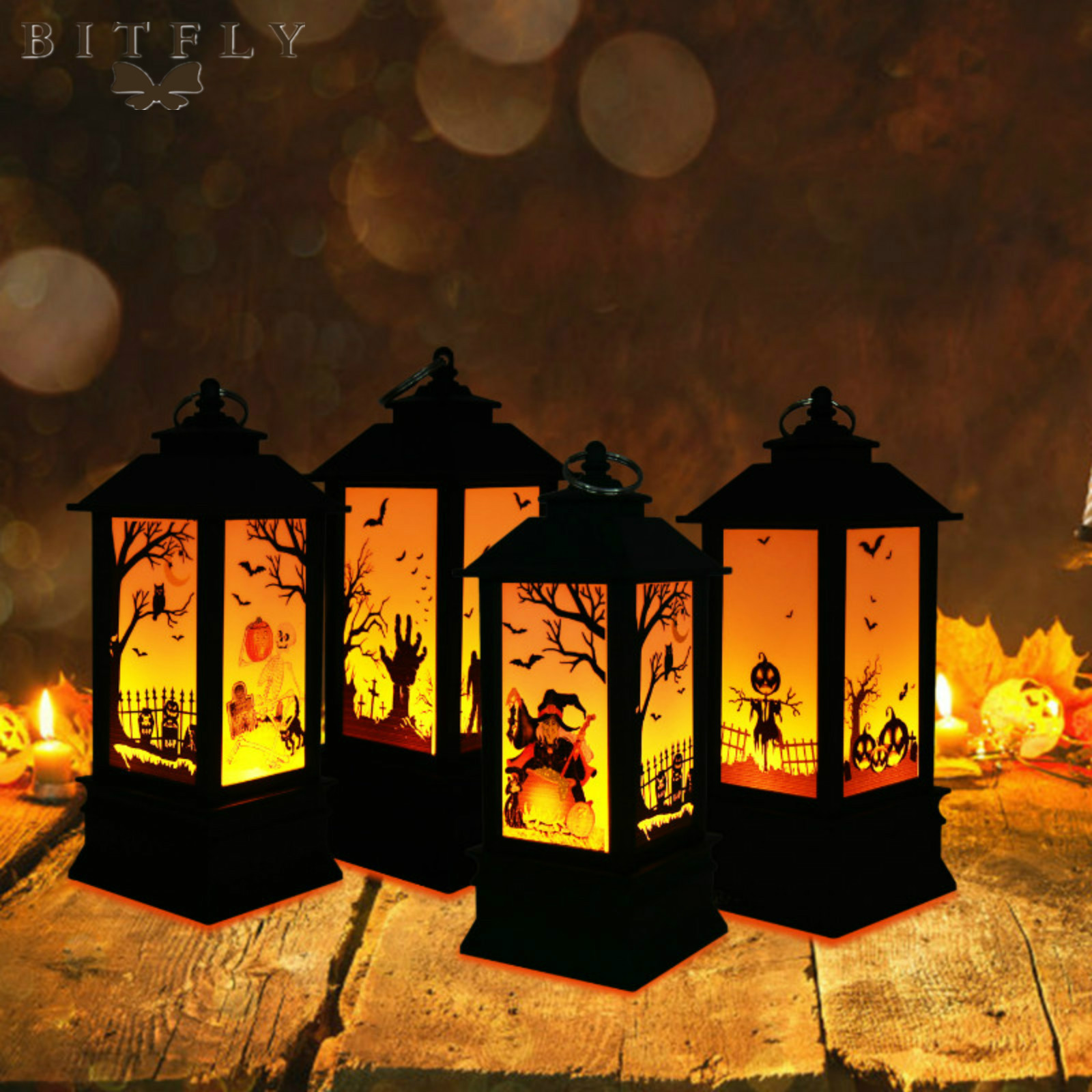 Halloween Decoration Bats Pumpkin Printed Castle Flame