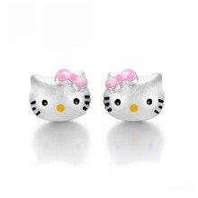 hello kitty, кошка, посеребренные серьги-гвоздики для женщин, милые модные медные милые маленькие серьги в виде животных, Женские Ювелирные изделия
