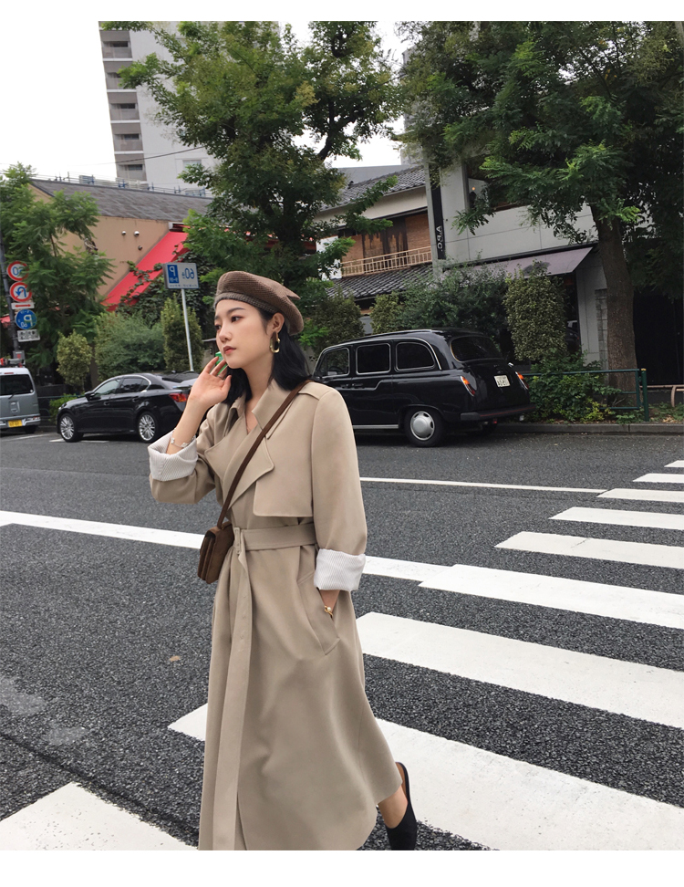 Spring Autumn Maxi Long Women's Loose Trench Coat With Belt Khaki & Black Plus Size Korean Style Windbreaker Outwear 19