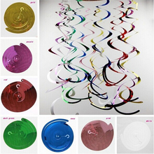 14pcs/lot Foil Shining Swirls Party Background Decoration Wedding Anniversary Bridal Shower Wall Ceiling Hanging